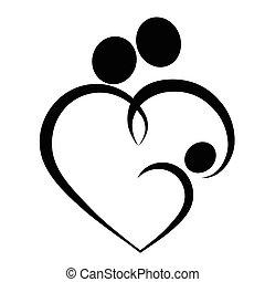 Family heart symbol, vector