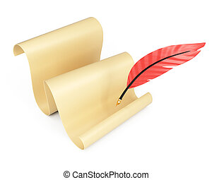 Rolling paper list and writing quill isolated on white...