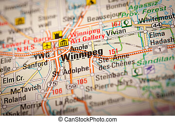 Winnipeg City on a Road Map - Map Photography: Winnipeg City...