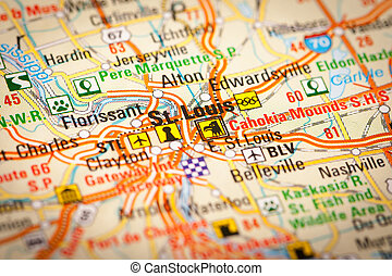 St. Louis City on a Road Map - Map Photography: St. Louis...