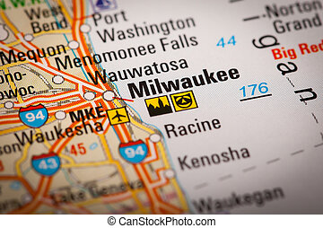 Milwaukee City on a Road Map - Map Photography: Milwaukee...