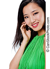 An attractive Asian woman with phone - An attractive Asian...