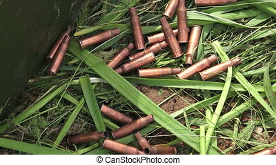 Machine-gun bullets on the grass. The first world war. Shot...