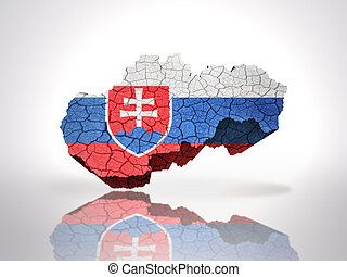 Map of Slovakia with Slovak Flag on a white background