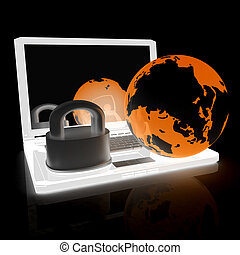 Internet security concept on a black background