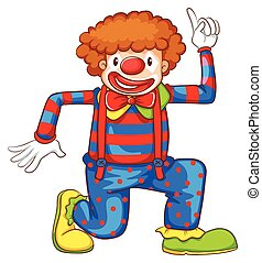 A coloured drawing of a clown