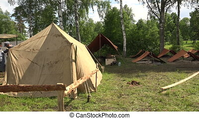 Military tent camp. The first world war.