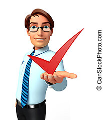 Young Service Man with right sign - Illustration of service...