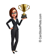 Young Business Woman with trophy - Illustration of Young...