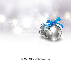 silver Christmas background - Christmas balls with blue bow...