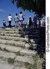 Walking up the steps of Troy - Looking at people walking up...