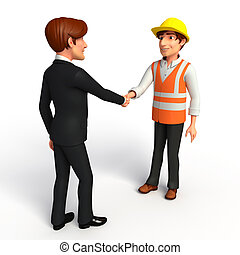 Young Business Man and worker with shake hand - Illustration...