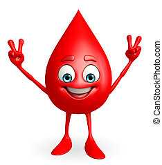 Blood Drop Character with victory sign - Cartoon Character...