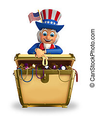 Uncle Sam with treasure box - Illustration of uncle sam with...