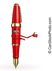 Pen Character is presenting - Cartoon Chatacter of Pen is...
