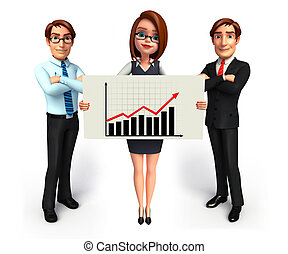 Group business people in office with business graph. -...