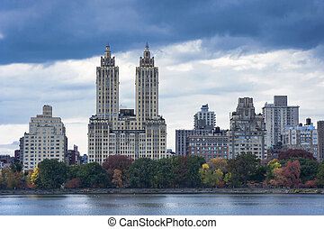 Upper West Side Skyline from Central Park, New York City -...