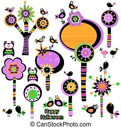 Halloween whimsy flowers - Halloween whimsy forest with...