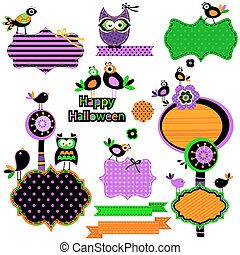 Halloween funny design elements set