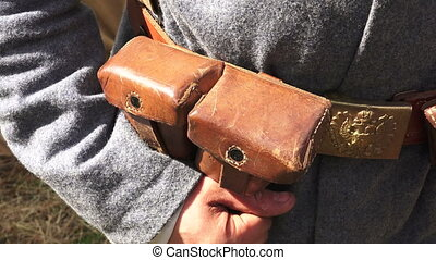 Bag for ammo belt soldier. The first world war.