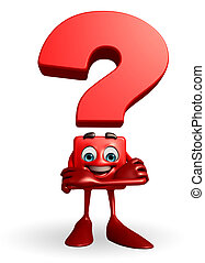 Question Mark character with folding hand - Cartoon...