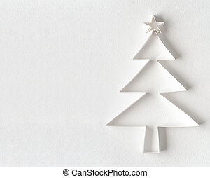 Christmas tree made of white paper