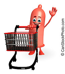 Condom Character with trolley - Cartoon Character of Condom...
