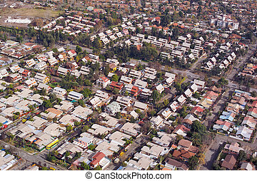 Santiago de Chile - Aerial view of a middle class...