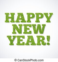 Happy new year card - green grass
