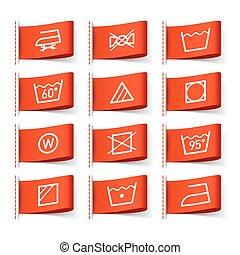 Washing symbols on clothing labels illustration