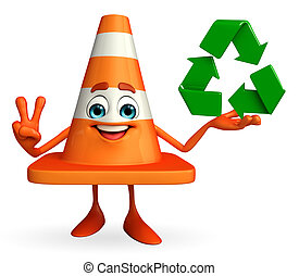 Construction Cone Character with recycle icon - Cartoon...