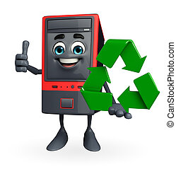 Computer Cabinet Character with recycle icon - Cartoon...