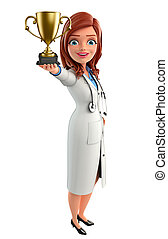 Young Doctor with trophy - Illustration of Young Doctor with...