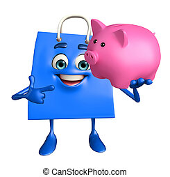 Shopping bag character with piggy bank - Cartoon Character...