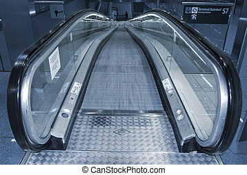Escalator going down - Escalator going down in the airport...