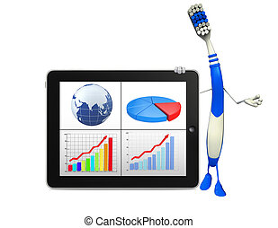 Toothbrush Character with Business graph - Cartoon Character...