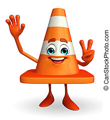 Construction Cone Character with victory sign - Cartoon...