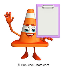 Construction Cone Character with notepad - Cartoon Character...