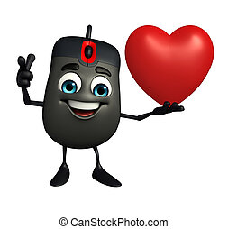 Computer Mouse Character with red heart