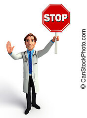 Young Doctor with stop sign - Illustration of young doctor...