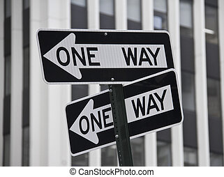 One Way sign on the pole