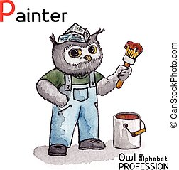 alfabeto, profesiones, búho, carta, P, -, pintor,...