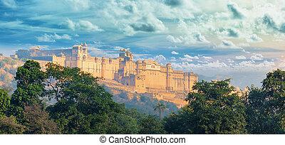 India landmarks - panorama with Amber fort. Jaipur city -...
