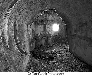 Interior destroyed of the abandoned Sommo Fort of World War...