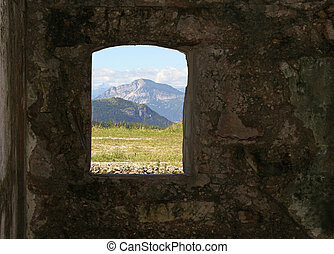 Mountain Panorama from the window of the Sommo Fort used by...
