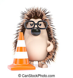3d Hedgehog roadworks - 3d render of a hedgehog with a...