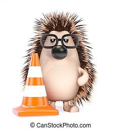 3d Hedgehog roadworks - 3d render of a hedgehog with a...