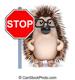 3d Hedgehog says Stop! - 3d render of a hedgehog with a Stop...