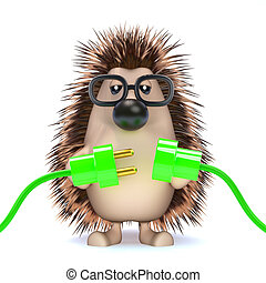 3d Hedgehog connects the green energy - 3d render of a...
