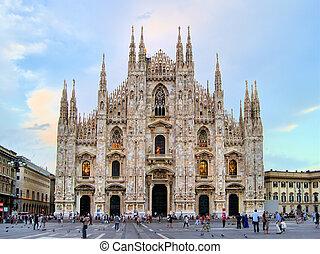 Milan Duomo - Famous Milan landmark the Duomo, at dusk,...